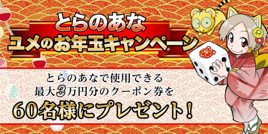 とらのあな ユメのお年玉キャンペーン! とらのあなで使用できる最大3万円分のお年玉クーポン券をどどんと60名様にプレゼント!